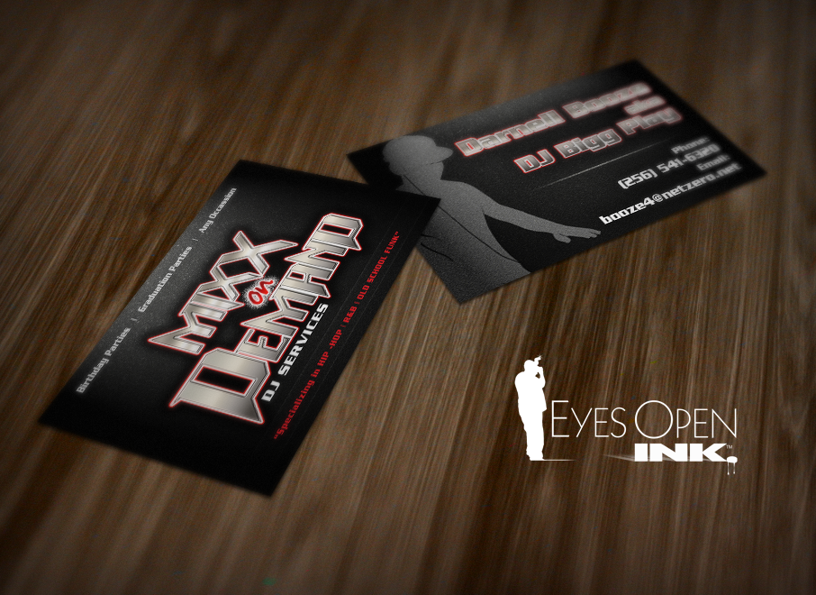 Eyes open ink a business card design for a dj colourmoves