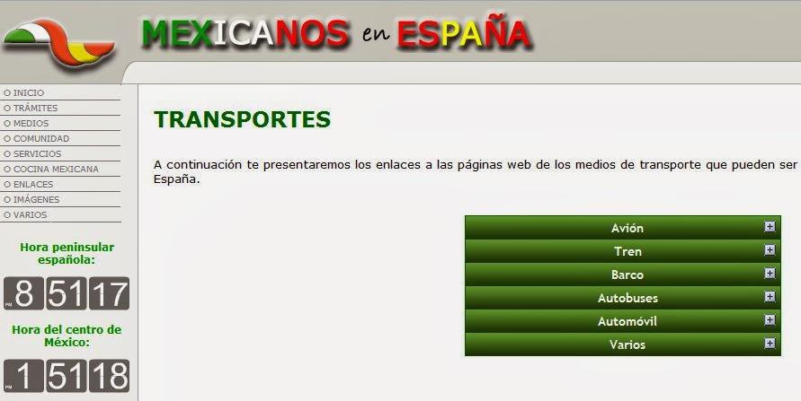 http://www.mexicanosenespana.com/transportes.htm