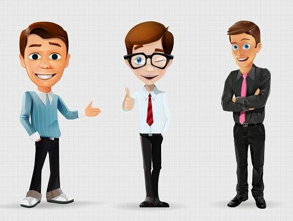 Cartoon Businessman Characters Freebies Psd
