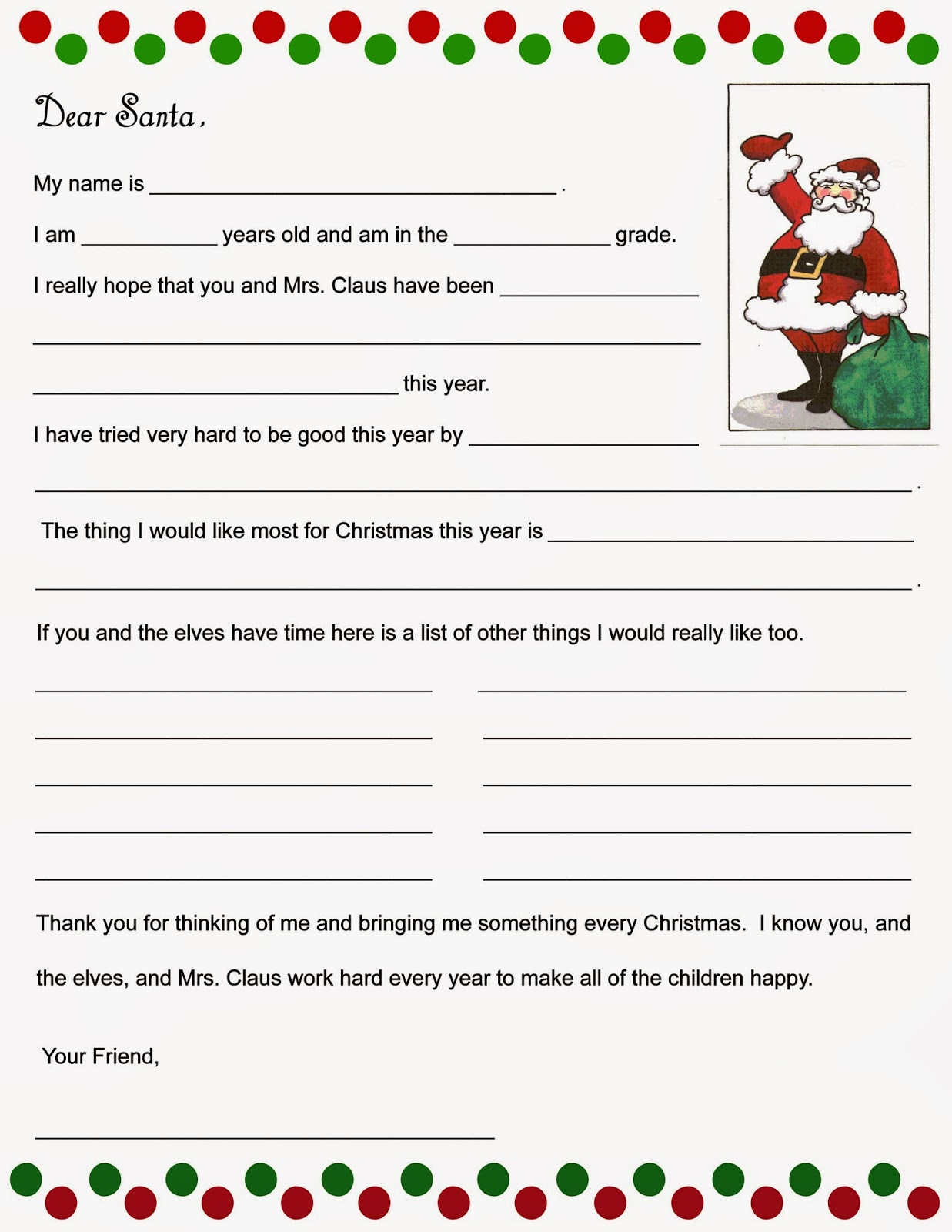 Christmas Wish List And Kids Letter To Santa!  Kids Christmas List Template