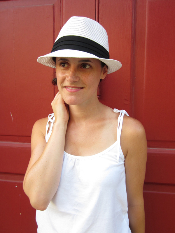 fedora, white tank top, Gap