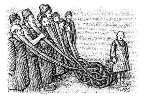 Illustration of the Gordian Beard: an unbreakable knot made from the ends of the beards of nine men