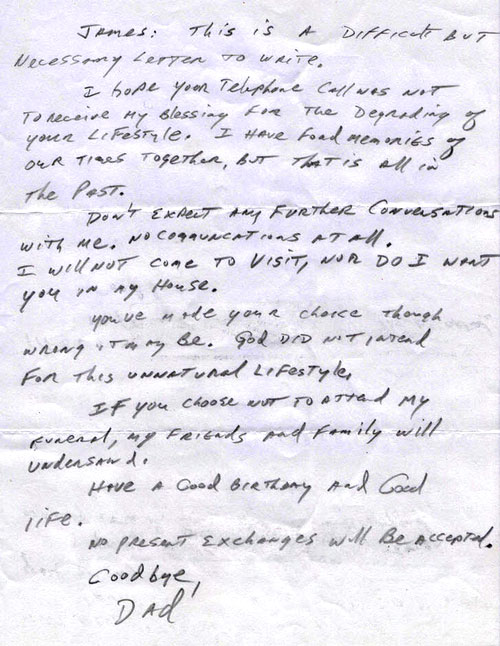 Father Disowns Gay Son in Letter