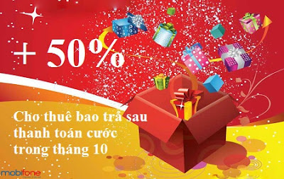 Khuyến mãi 50% cho thuê bao trả sau Mobifone