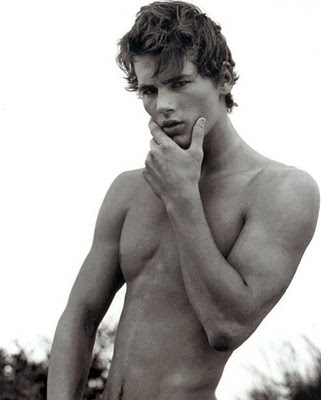 the beautiful A&F model Josh Slack, shirtless and in black and white