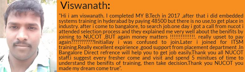 Viswanath got placed as software developer