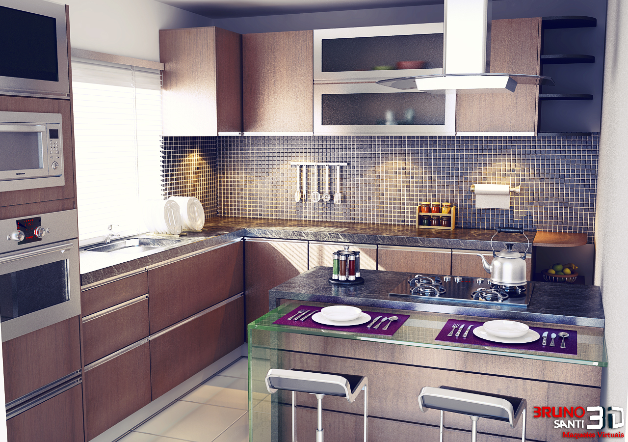 Maquete Eletronica Bruno Santi 3D: Projeto Cozinha Modulada #7D654E 1280 900