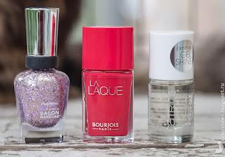 Bourjois La Laque #4 Flambant Rose + Sally Hansen #706 Glitter Bomb