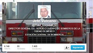 Twitter Jefe Vulcano. @Raul_Esquivel_C Director General del Heroico Cuerpo de Bomberos de la Ciudad de México.