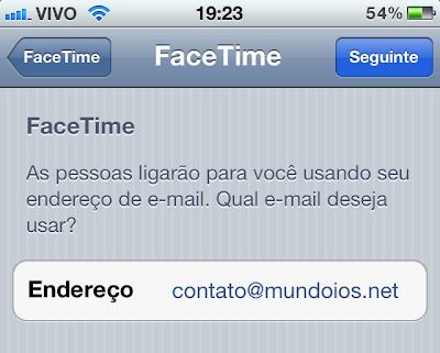 FaceTime - Endereço