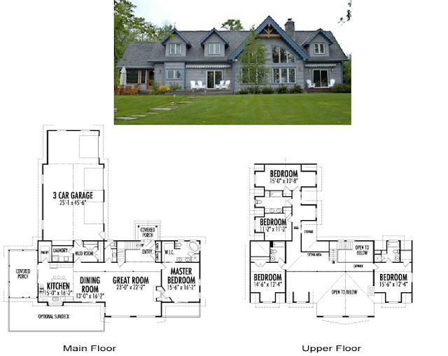 Moderna casa de una planta y 158 metros cuadrados planos - Casas americanas planos ...