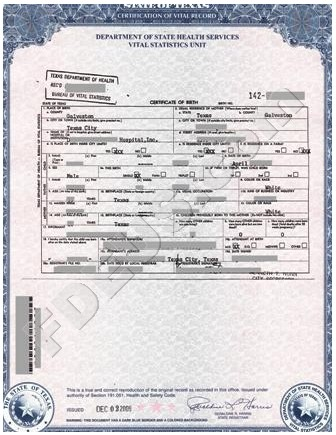 examples of best certificate: texas birth certificate