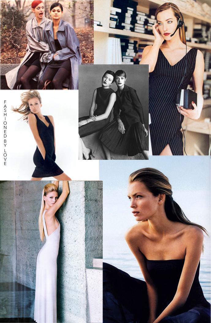 Donna Karan New York designs in Vogue US & Vogue Italia 1991-1998