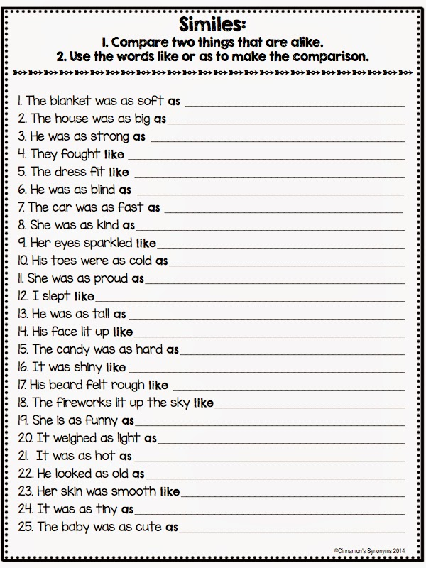 Cinnamons Synonyms Easy as Pi Simile Freebie – Simile Worksheet