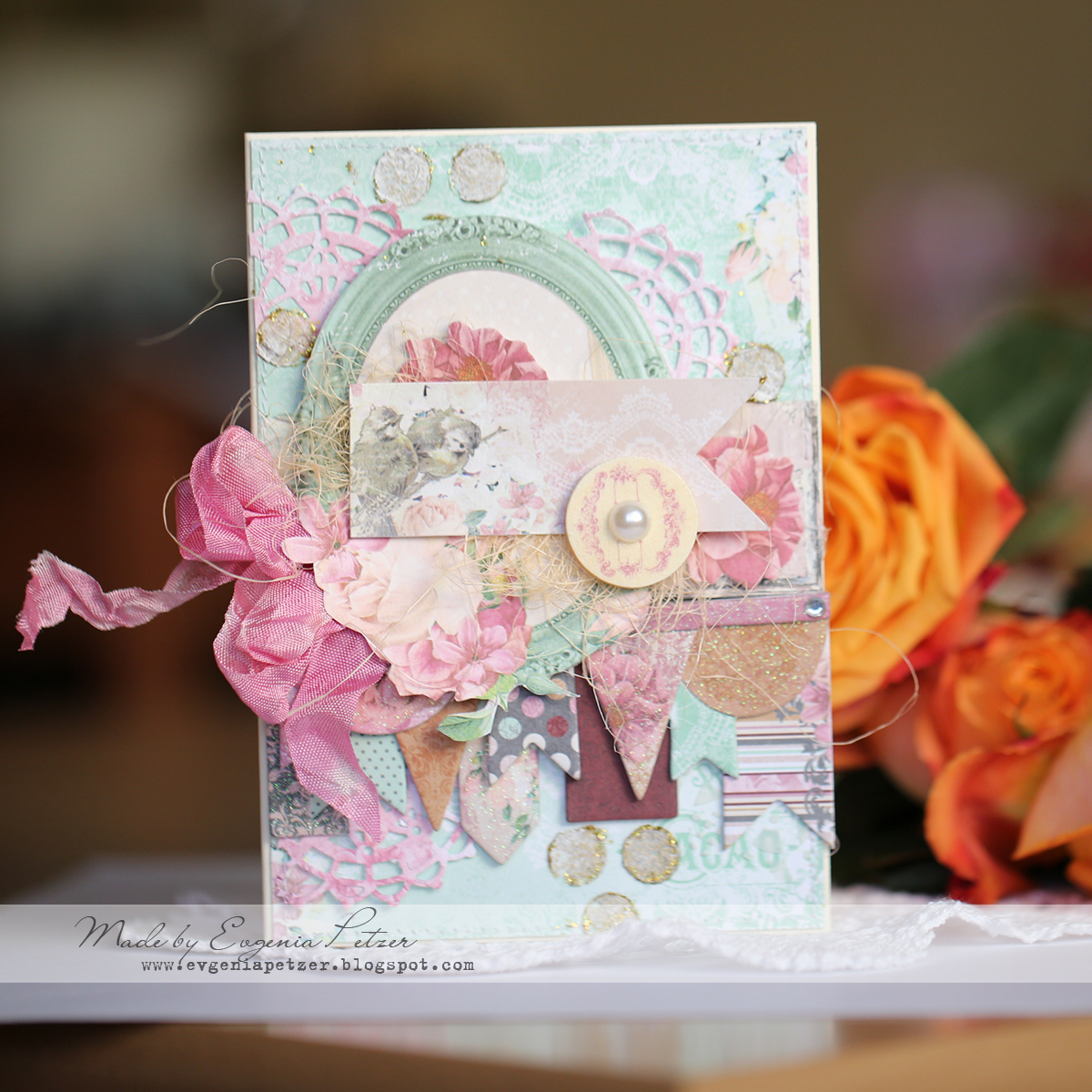 Bird Card by Evgenia Petzer using BoBunny Madeleine Collection