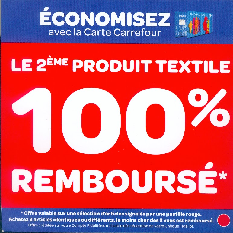mademoiselle bons plans carrefour le 2 me produit textile 100 rembourse. Black Bedroom Furniture Sets. Home Design Ideas