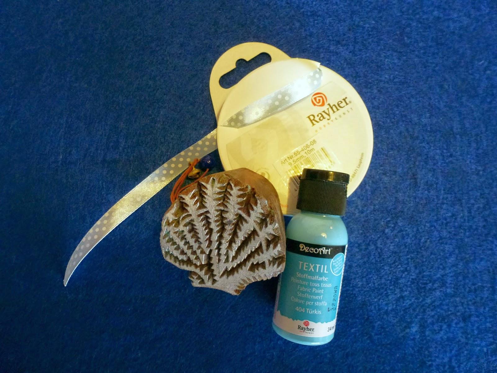 Filz, Blockwallah Stempel Muschel, DecoArt Textilfarbe