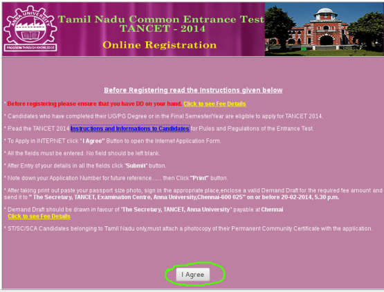 how to apply tancet 2014 through online