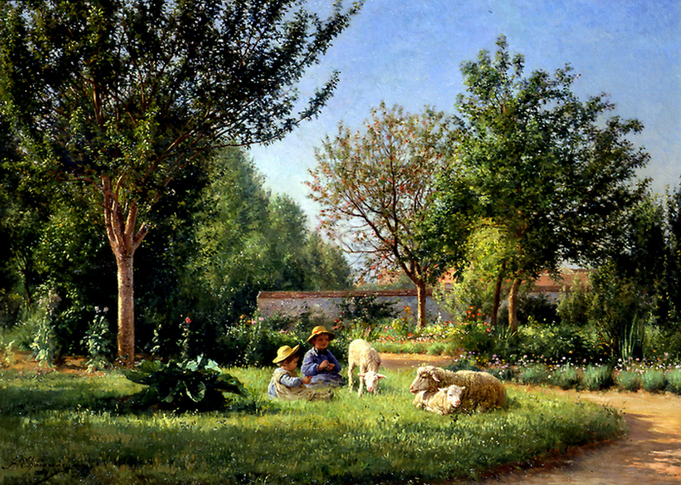 Jean ferdinand chaigneau 1830 1906 french artist le for Jardin in french