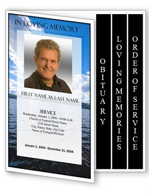 Obituary Template: 4 Page Graduated Fold Obituary Program Templates