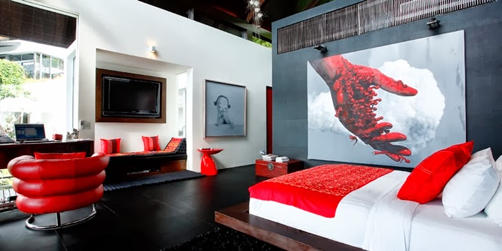 White and red bedroom in an Amazing contemporary Villa Yin in Phuket