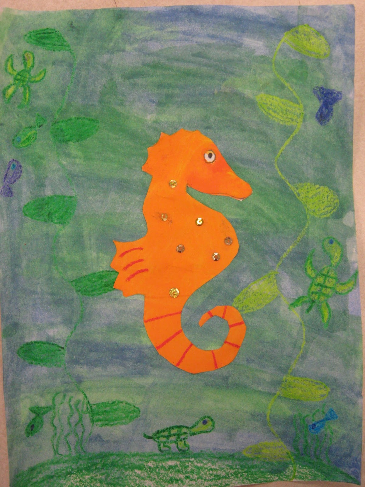 Miss Young\'s Art Room: 3rd Grade Warm and Cool Color Seahorses