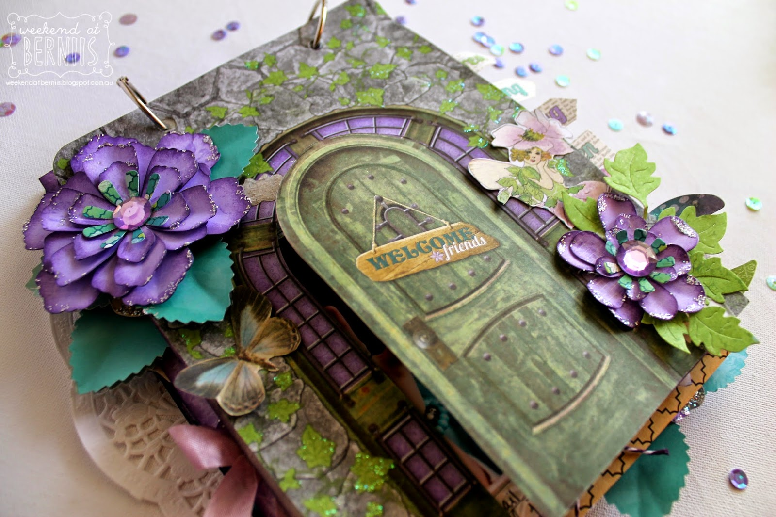 """Fairy Party"" mini album by Bernii Miller using BoBunny Enchanted Garden Collection"