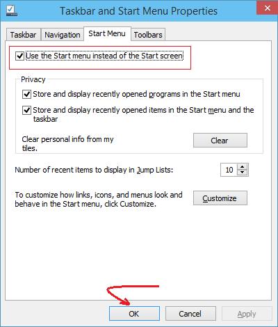 switch between start menu and start screen windows 10