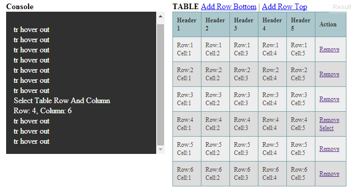 Html table with jquery tutorial manipulate jquery 2 dotnet for Hover tr table