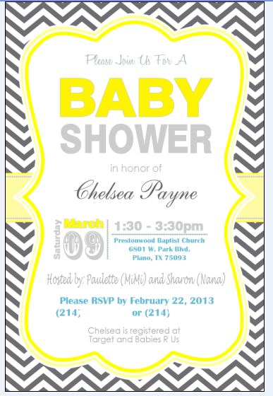Once Upon a Cedar House: Chelsea's Yellow and Gray Chevron Baby Shower