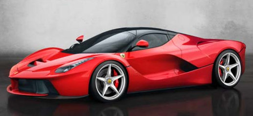 red ferrari laferrari sports car with butterfly doors