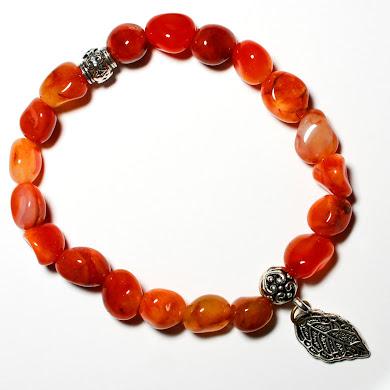 Carnelian Bracelet with Leaf