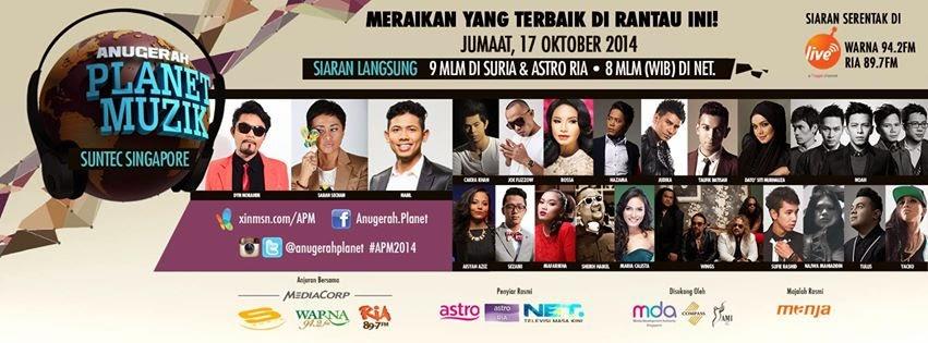 Fesyen meletop artis Malaysia di Anugerah Planet Muzik 2014