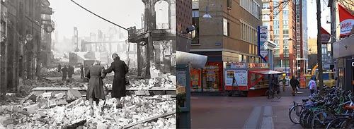 De verwoeste Pauwelstraat op de kruising met de Molenstraat links en de Broerstraat rechts.