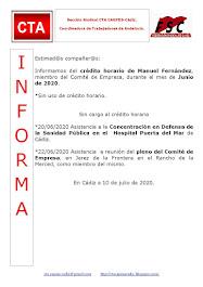 C.T.A. INFORMA CRÉDITO HORARIO MANUEL FERNANDEZ, JUNIO 2020