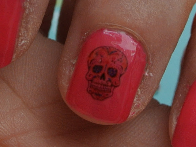 sugar skull nail decal close up