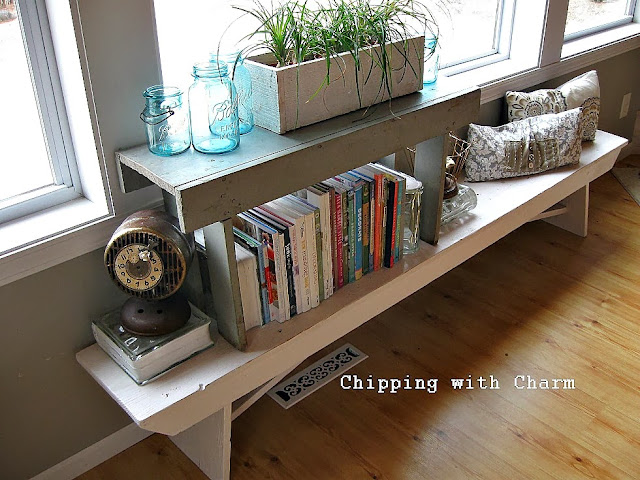 Chipping with Charm:  Getting Organized with Junk, Stacked Benches to Book Shelf...http://chippingwithcharm.blogspot.com/