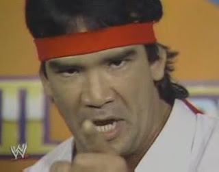 WWF / WWE WRESTLEMANIA 3 - Ricky 'The Dragon' Steamboat has some choice words for 'Macho Man' Randy Savage before their classic match
