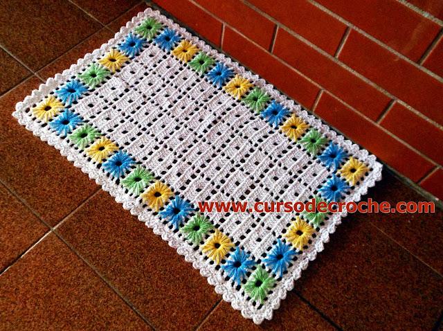 tapete em croche filé bordado ponto ilhós video-aula gratis aprender croche dvd loja curso de croche edinir-croche
