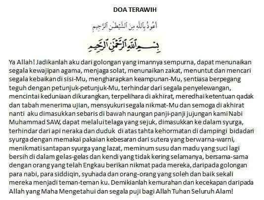 doa lepas tarawih