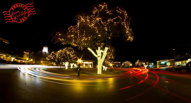 365 photo challenge, Lisa On Location photography, New Braunfels, Texas. Christmas lights. Long exposure traffic. Traffic circle.