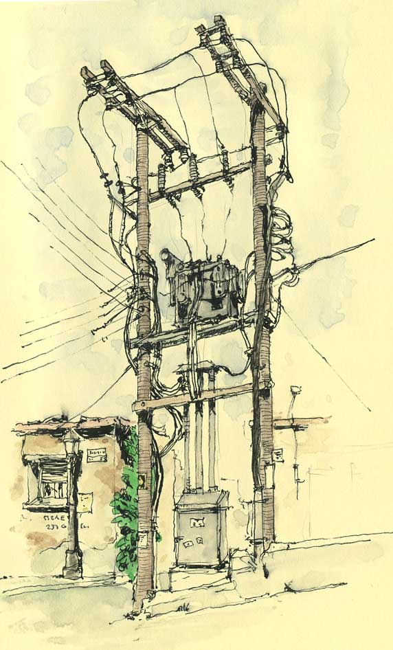14-Electricity-Mattias-Adolfsson-Surreal-Architectural-Moleskine-Drawings-www-designstack-co