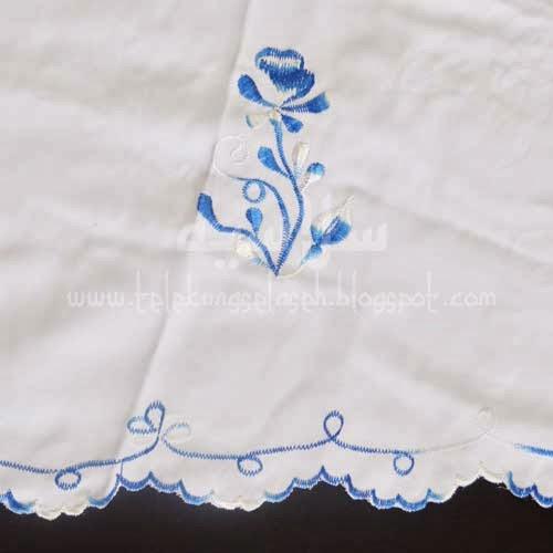 Telekung Vietnam biru royal sulam bunga timbul