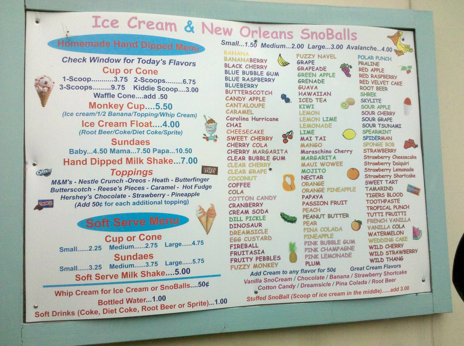 shaved ice flavor menu list