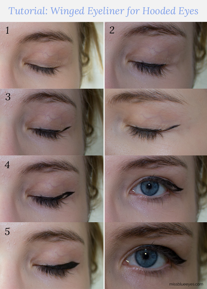 Tutorial: Winged Eyeliner for Hooded Eyes : Miss Blue Eyes