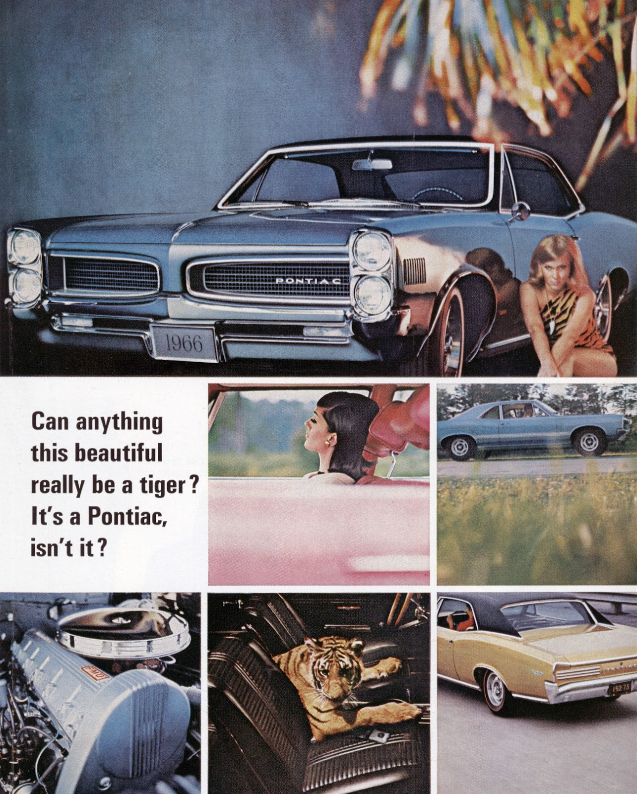 Promofile Crouching Tiger Hidden Burnoutsgto Ads In The 1960s 1960 Pontiac Catalina Wiring Diagrams First One Featured A Turquoise Tempest With Black Vinyl Roof And Blonde Wearing Striped Bathing Suit Posed Beside Car Feline Manner
