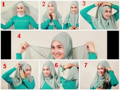 tutorial jilbab segi empat pashmina turquoise