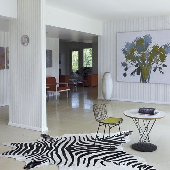 Safari Fusion blog | Zebra crossing | A cowhide Zebra rug in Rachel Griffiths' mid century LA home via House to Home www.housetohome.co.uk