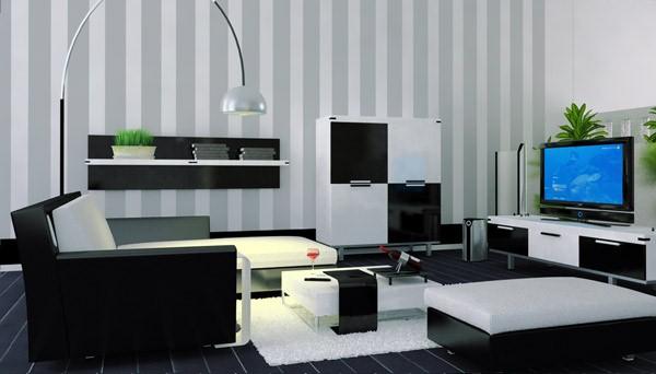 ruang tamu modern kontemporer hitam dan putih rancangan desain rumah minimalis. Black Bedroom Furniture Sets. Home Design Ideas
