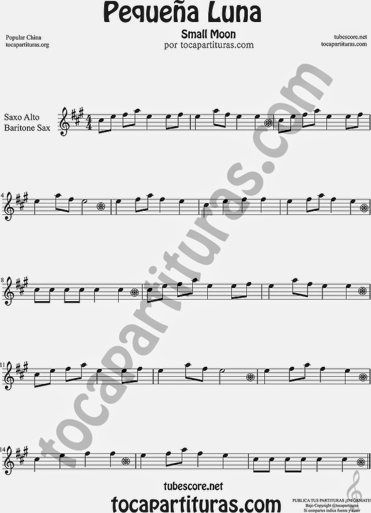 Pequeña Luna Partitura de Saxofón Alto y Sax Barítono Sheet Music for Alto and Baritone Saxophone Music Scores Popular China Small Moon 方便兒童歌曲樂譜小月亮流行民歌在中國的中音薩克斯管